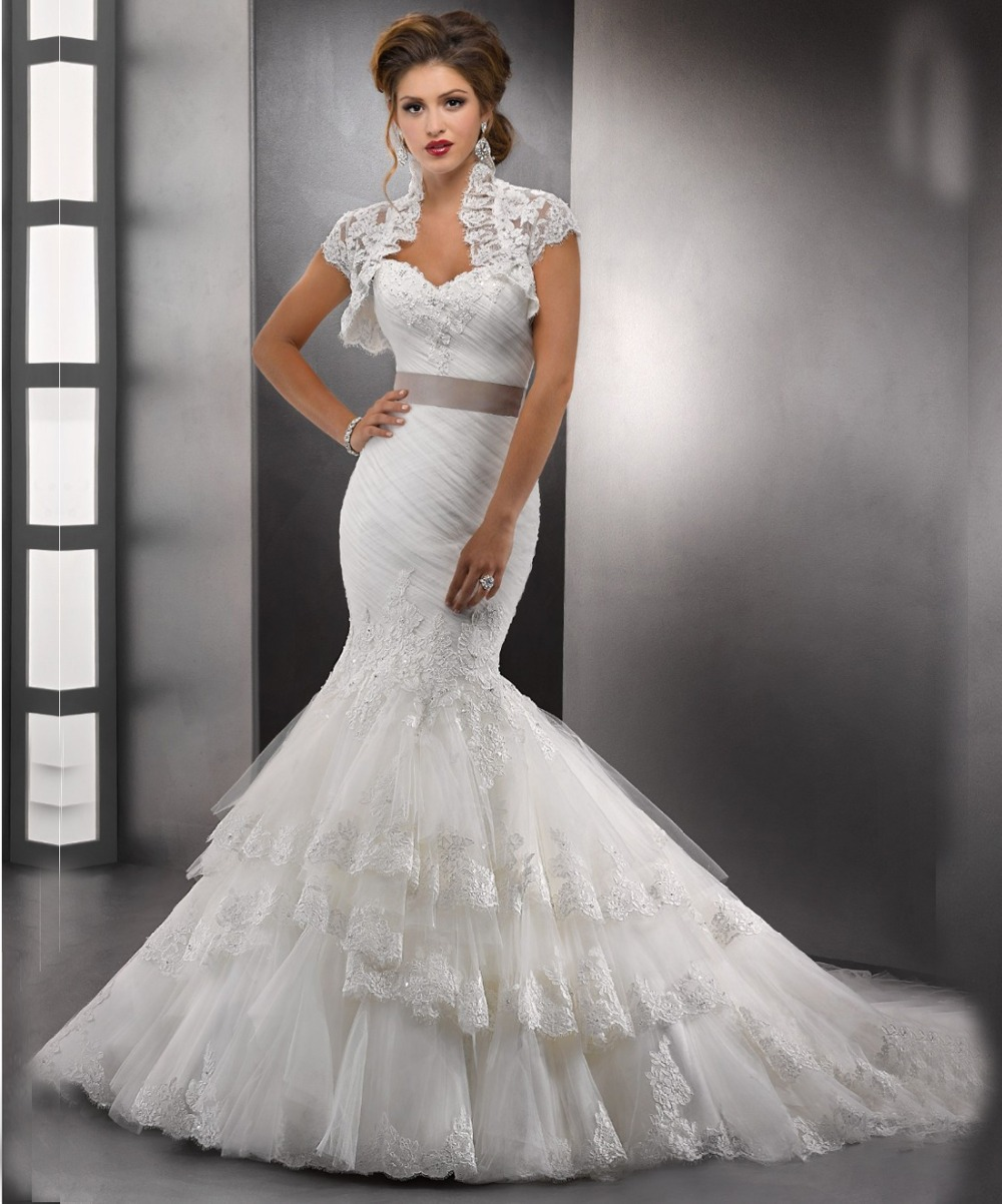 2014 lace sweetheart mermaid wedding dresses with bolero jackets gallery desc junglespirit Choice Image