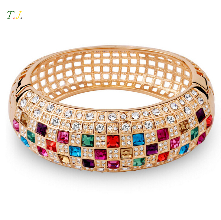 6Styles Austrian Crystals Gold Plated Bracelets Bangles For Women ...