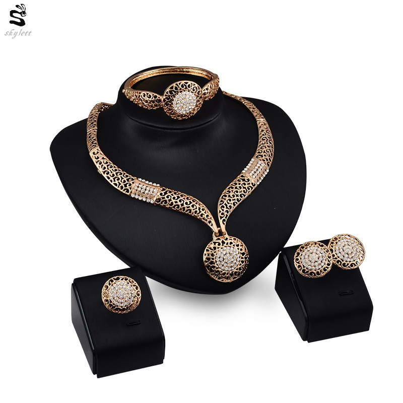 African Beads Exaggerate Austrian Crystal Necklace Earring Bracelet ...