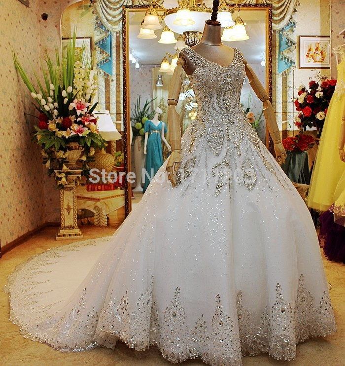 Custom Made Ball Gown Crystals Beads Lace Luxury Princess Wedding ...
