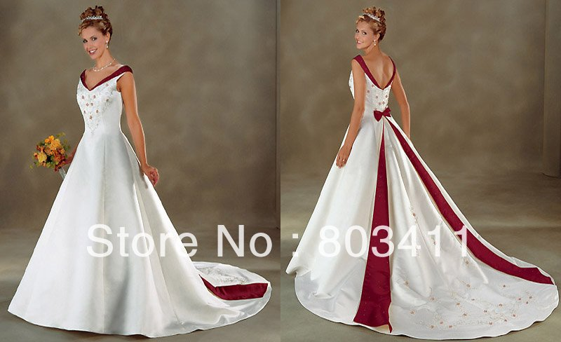 Free Shipping Brand New Gorgeous A line Off-shoulder Embroidered Satin Designer  Wedding Dresses Bridal gowns WD-D002 c48f8fc34e08