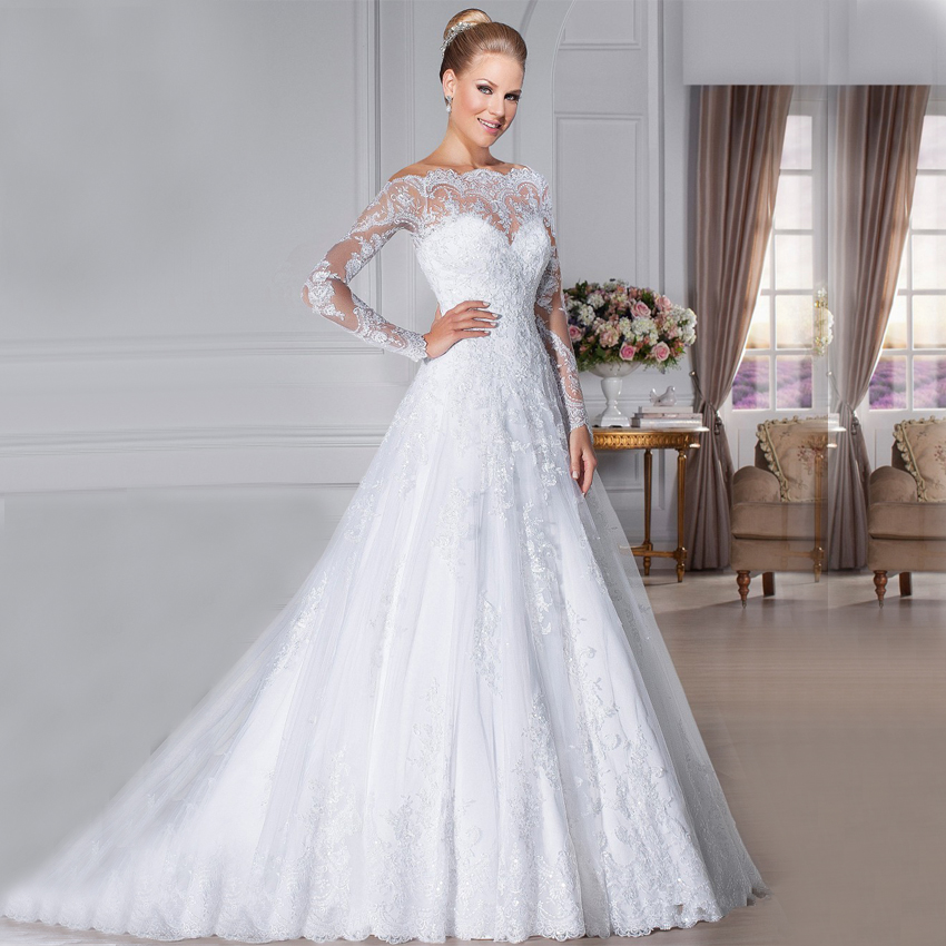 Glamorous Off The Shoulder Lace Wedding Dresses 2015 Long Sleeves Vestidos De Novia Robe Mariage See Through Gowns