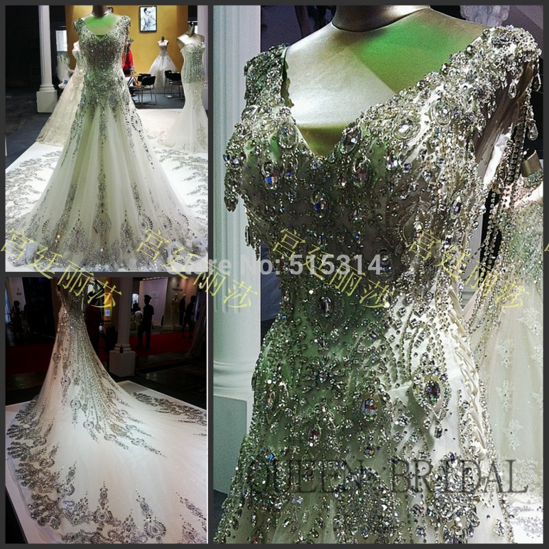 Princess Long Tail Luxury Wedding Dress Crystal Lace Lique Bride