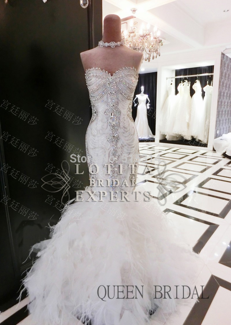 Strapless Puffy Fishtail Sexy Crystle Beaded Feather Mermaid Wedding