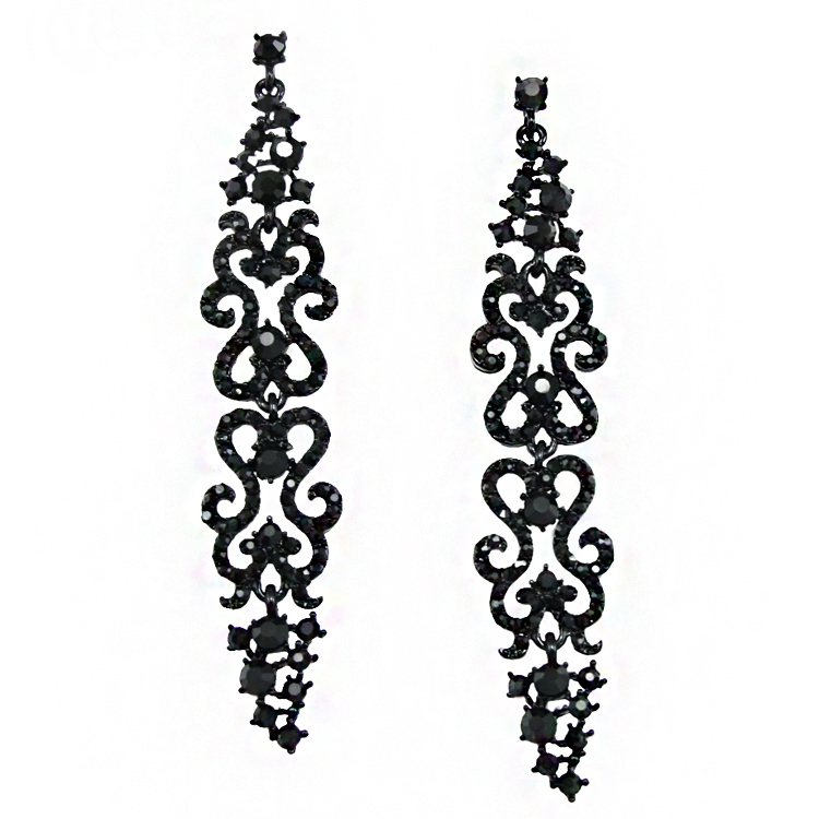 Summer style Crystal Black Earrings for Women big brincos long chain earrings  with black stone brincos vintage 2015 ers-h20 8497742200